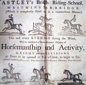 My ancestor Richard Hall's handbill from when he went to see Astley in the 1770's.