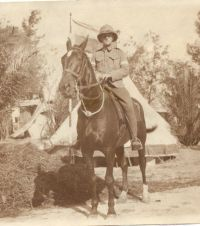 Norman Woodcock, on his horse Timbuc, in Egypt.
