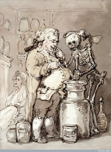 L0025088 Death as an apothecary's assistant making up medicines in a