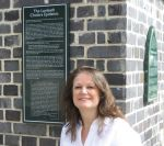 Amanda with the heritage plaque she wrote for Lambeth Council  Credit: Alexander Thomas