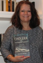 Amanda Thomas with her latest book Cholera: The Victorian Plague