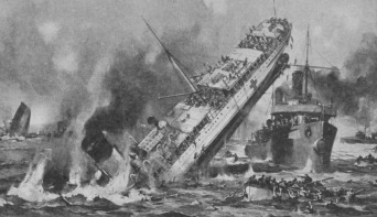 HBC - sketch painting of Anglia sinking - hbc